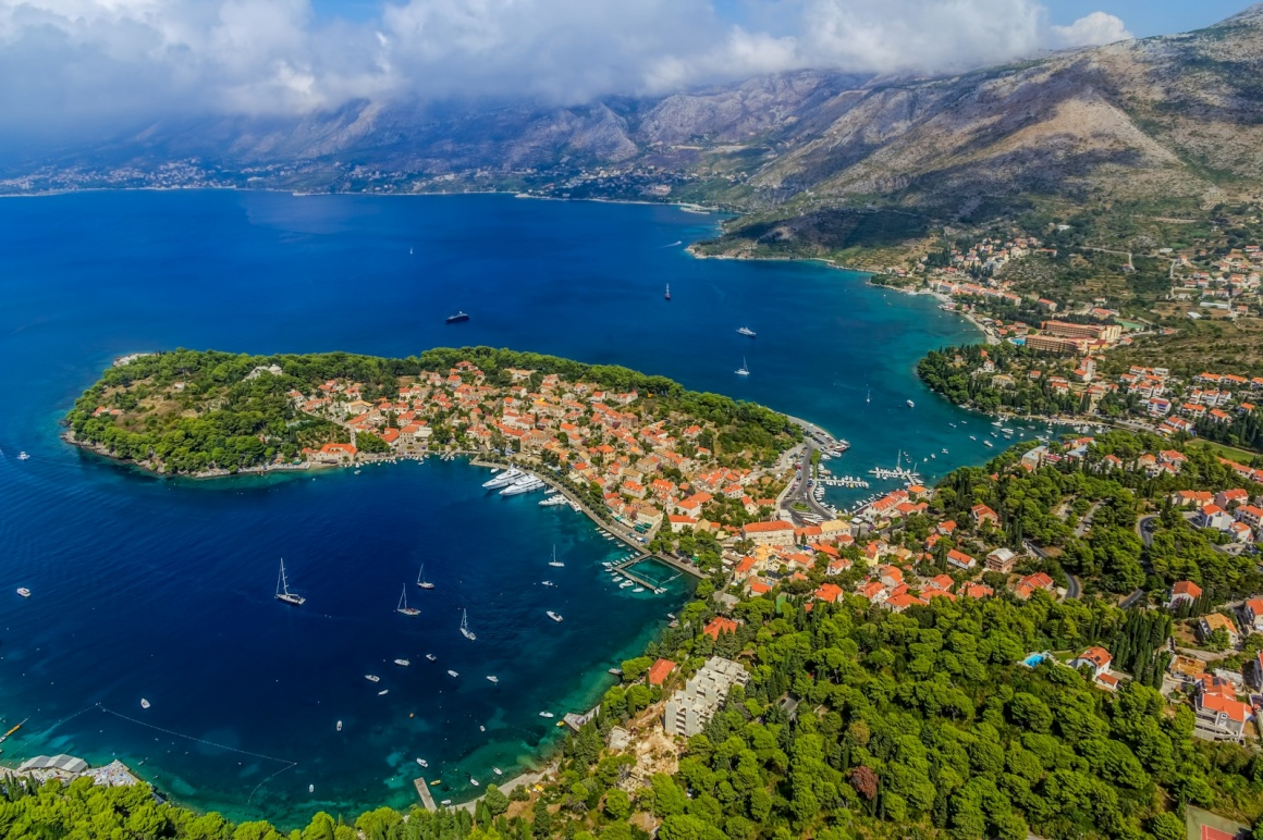'Helicopter aerial shoot of Cavtat. Well known tourist destination near Dubrovnik.' - Dubrovnik