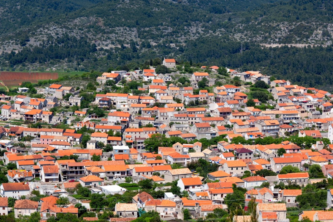 Blato village panorama with church on top of the hill- Korcula island, Croatia